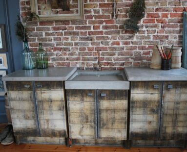 bespoke concrete kitchen sink and wooden unit