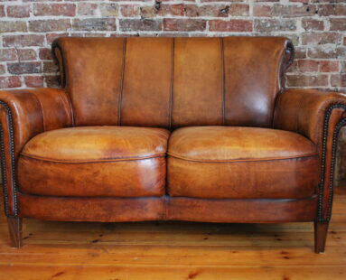 lambs leather scroll back studded sofa seating