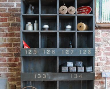 wooden painted pigeon holes industrial storage