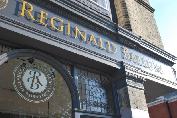 exterior shop signage for Reginald Ballum shop