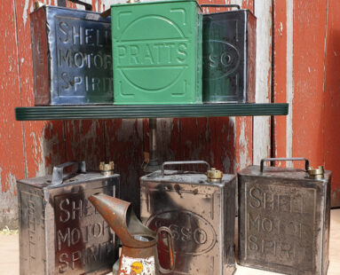 polished esso pratts petrol cans decorative artefacts