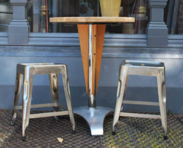 wood and aluminium cafe style bistro table furniture