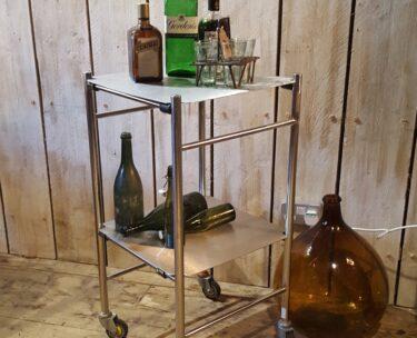 polished metal drinks trolley storage furniture