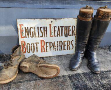 vintage black mens riding boots decorative artefact