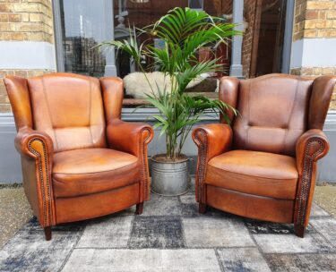 original joris wingback armchair lambs leather patina