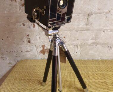 Beau Brownie camera and tripod table lamp lighting