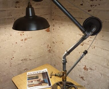 industrial pulley table lighting