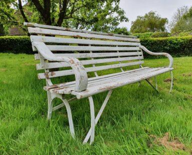 vintage hardwood bench painted white garden seating furniture