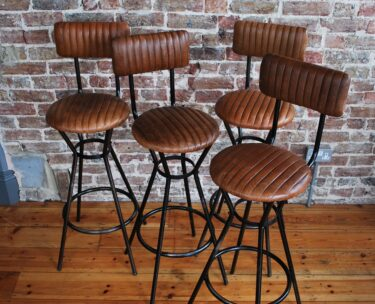 vintage leather and steel frame bar stools seating