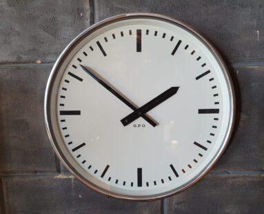 polished chrome post office clock decorative clocks