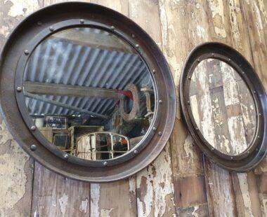 round metal industrial mirror