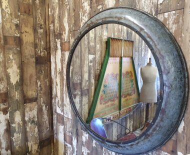 round industrial metal mirrors