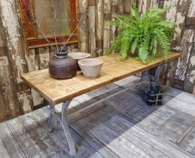 industrial coffee table cast iron base reclaimed timber bespoke furniture tables