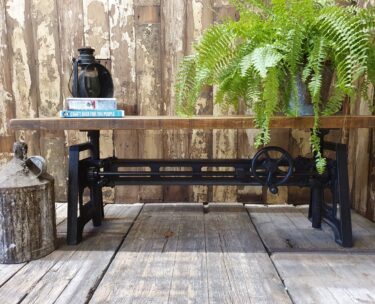 industrial table adjustable cast iron base reclaimed timber top bespoke furniture tables