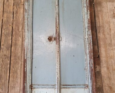 hardwood painted blue window shutter mirrors