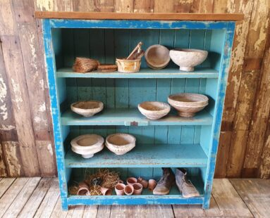 painted rustic open shelving unit pine top furniture storage
