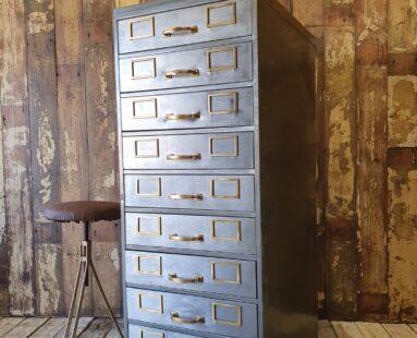 vintage metal bank of 10 filing drawers furniture storage drawers