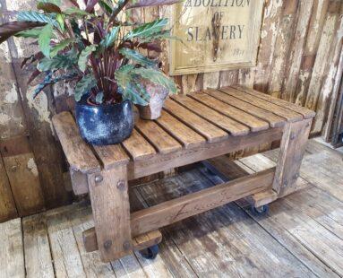 vintage wooden mill carts on wheels furniture storage tables garden