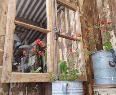 oak window mirror with shot bolt mirrors garden