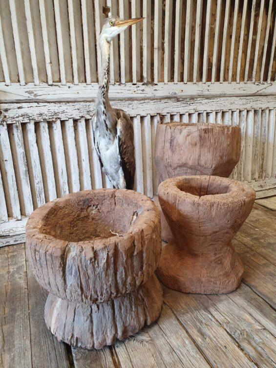large wooden primitive mortar decorative homewares garden