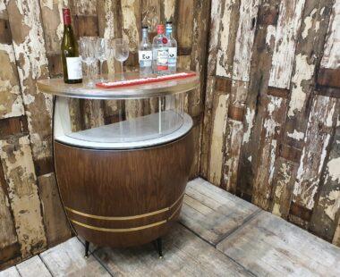 1960's barrel ship shaped formica home bar furniture tables storage