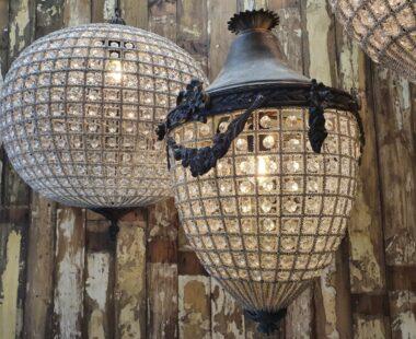 Lead and glass acorn chandelier lighting