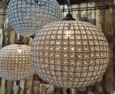 Lead and glass globe basket french chandelier lighting