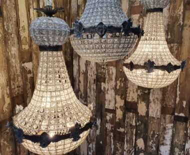 french empire lead and crystal chandelier lighting
