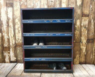 painted blue metal engineers shelves furniture storage industrial